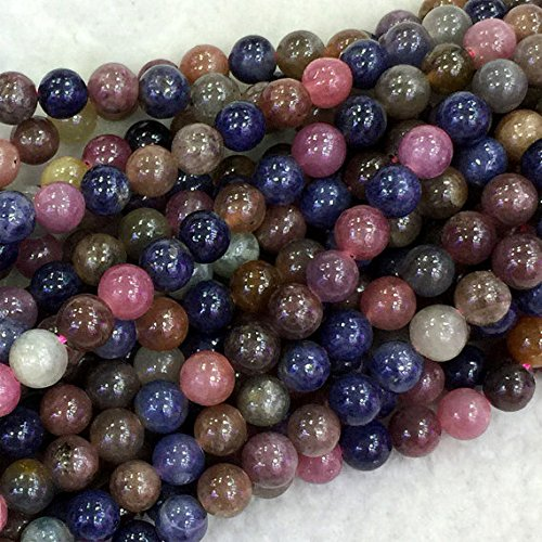 (1 Strands Natural Multicolour Mix Red Blue Ruby Sapphire Round Loose Gemstone Beads 4mm 04072)