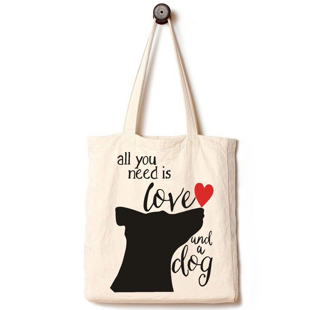 Andes Heavy Duty Gusseted Canvas Tote Bag, Handmade from 12-ounce Machine Washable Cotton, Perfect for Shopping, Laptop, School Books, All You Need is Love and A Dog