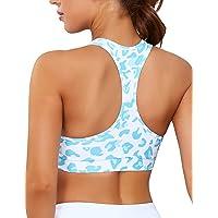 Women Racerback Longline Sports Bra Crop Tops Yoga Padded Workout Fitness Tie Dyed Camisole