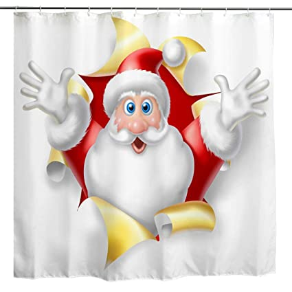 BROSHAN Christmas Shower Curtain Santa Claus Winter Holiday Decoration Cute Red Getting Out
