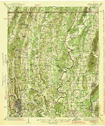 YellowMaps Dalton GA topo map, 1:62500 Scale, 15 X 15 Minute, Historical, 1943, 20 x 16.6 in - Paper (Cohutta Ga)