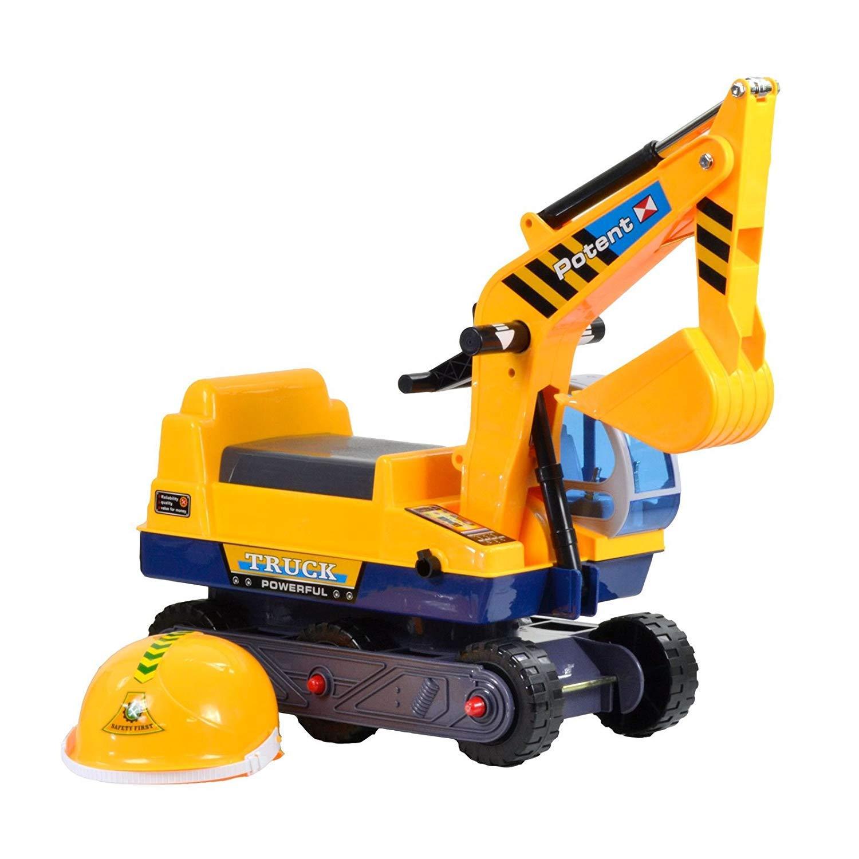 YANGSANJIN Jouet d'imitation Tracteur de Construction d'Excavatrice Jouet d'Excavatrice avec Un Casque Convient aux Enfants de 3 à 6 Ans