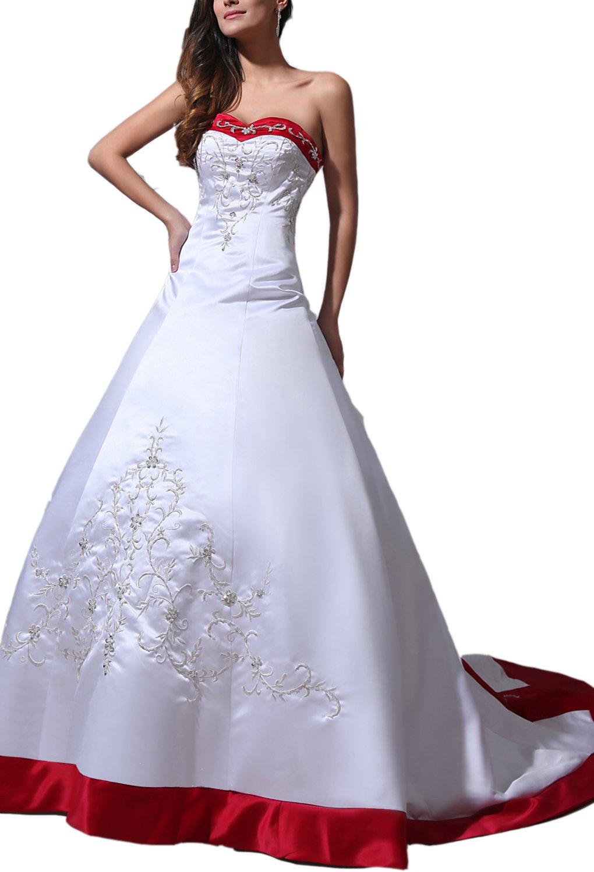 Albizia Women's Sweetheart Embroidery Beaded Court Train Wedding Dresses