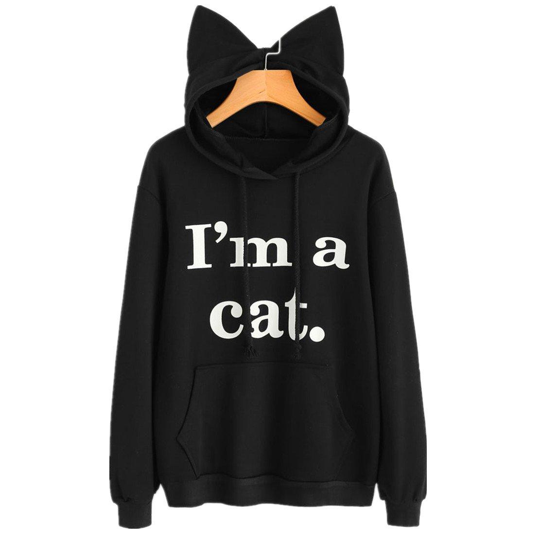 Qisc Women's Cute Cat Ear Big Pocket Hoody Sweatshirt, Cartoon Anime Kangaroo Pouch Carriers Hoodie Pullover (XL, Black)