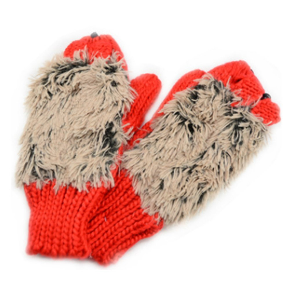 Women's Cartoon Hedgehog Winter Cotton Gloves Girls' Kid' Thick Mittens by Einfachheit (rose)