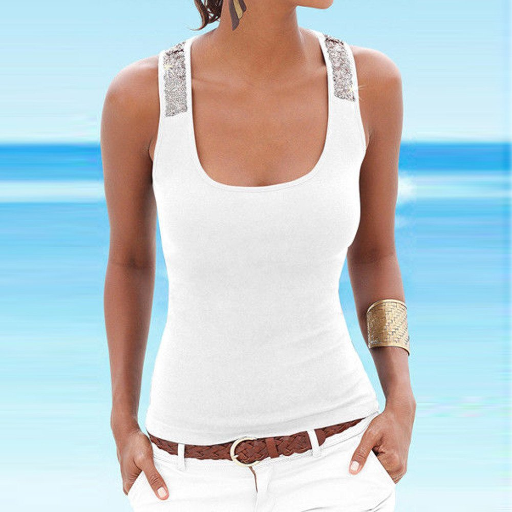 Women Tank Tops Sleeveless Solid Shirt Sequin Splice Plus Size Casual Vest Tunic Tops Blouse (S, White) by Yihaojia Women Blouse (Image #2)