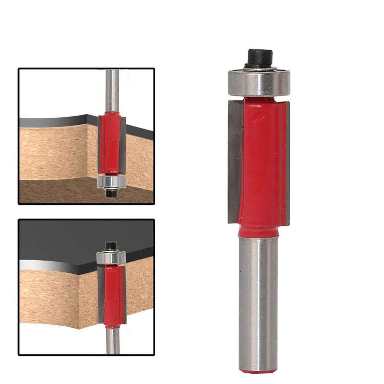 Flush Trim Router Bit Top /& Bottom Bearing 1H X 1//4 Shank Woodworking Tool,D