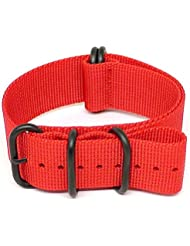 DaLuca Ballistic Nylon Military Watch Strap - Red (PVD Buckle) : 26mm