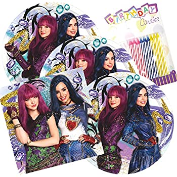 Disney Descendants 2 Party Plates And Napkins Serves 16 With Birthday Candles