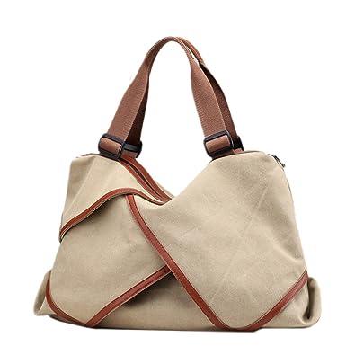 e60a66f49e7a0 Defeng Canvas Schultertasche Umhängetasche Modische Spleiß Handtasche  Messenger Damenhandtasche (Hellbraun)