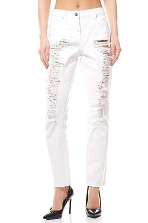 Aniston Hose Destroyed Jeans Damen Kurzgröße Denim Weiß, Größenauswahl 34  (17 Kurzgröße) 83f1eec3aa