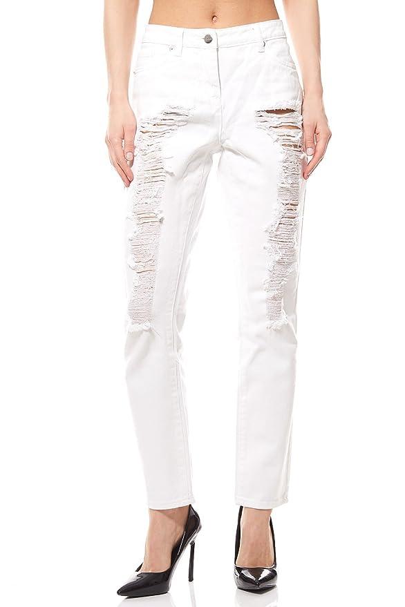 Aniston Hose Destroyed Jeans Damen Kurzgröße Denim Weiß