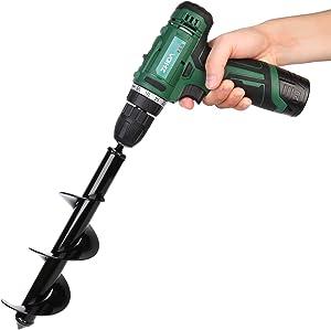 "Senfhome Auger Drill, Non-Slip Garden Auger bit 3"" x 10"" Garden Plant Flower Handle hex Shaft Drill bit Ground Drill bit Fence Drill Excavator Drill bit Suitable for 3/8"" hex Drive Drill bit."