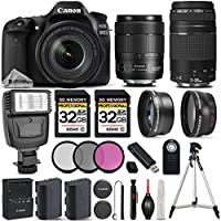 Canon EOS 80D Wi-Fi Full HD 1080P Digital SLR Camera + Canon 18-135mm IS USM Lens + Canon 75-300mm III Lens + Flash All Original Accessories Included. International Version
