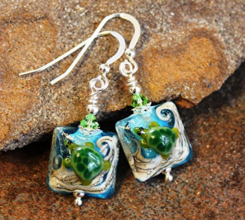 Sea Turtle Ocean Wave Art Glass Earrings Sterling Silver