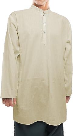 Kurta india unisex de algodón (camisa/blusa larga), tailla XL, marfil: Amazon.es: Ropa y accesorios