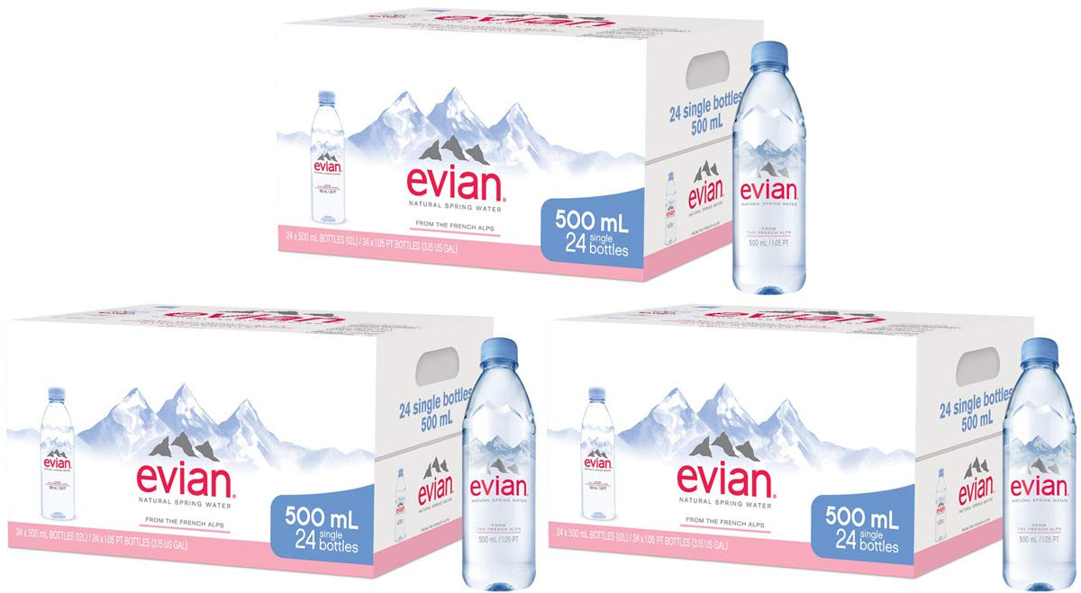 evian lop Natural Spring Water Individual 500 ml (16.9 oz.) Bottles, Naturally Filtered Spring Water in Individual-Sized Plastic Bottles, 3 Cases of 24