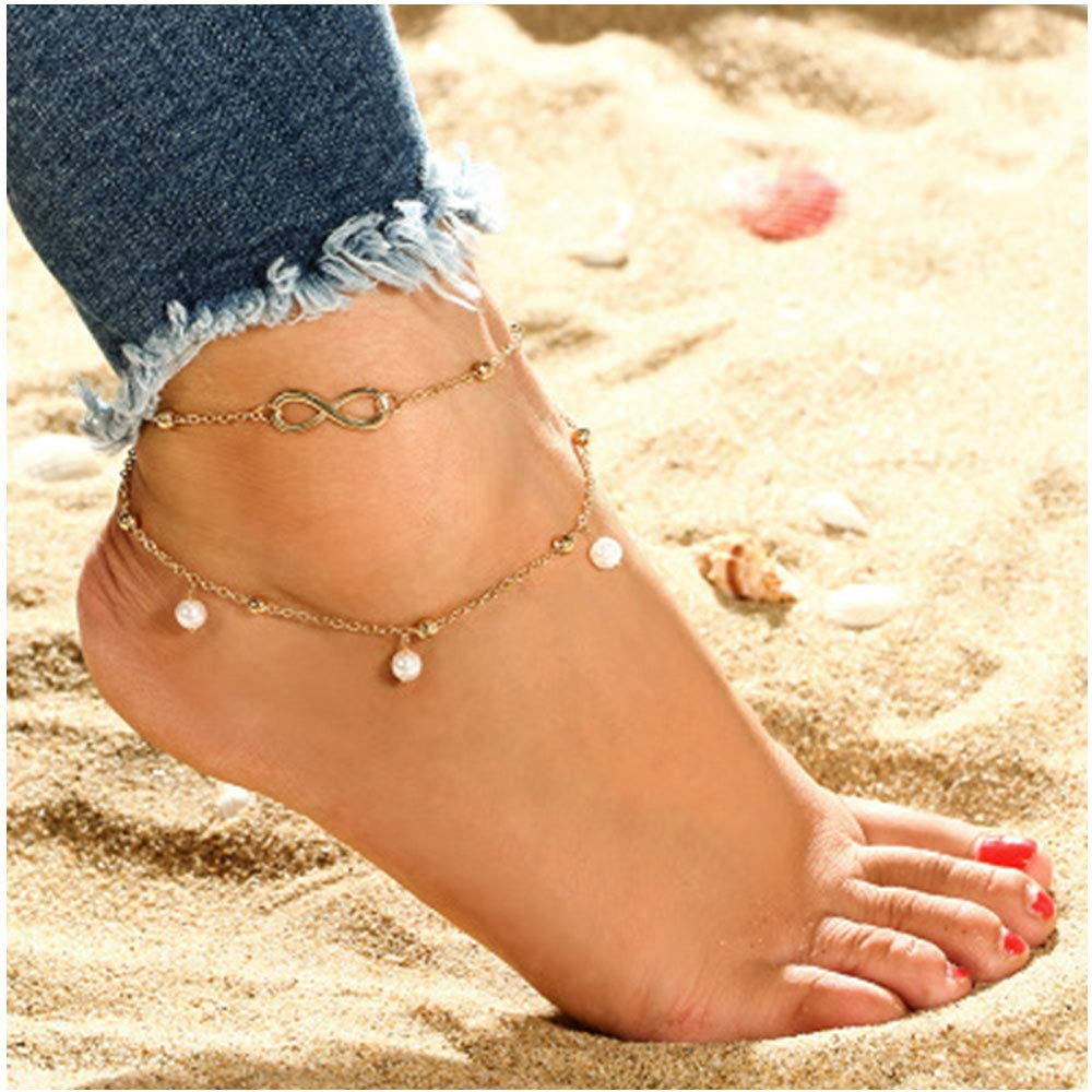 Women Fashion Double Chain Ankle Anklet Bracelet Barefoot Sandal Beach Foot Gift MINGHUA