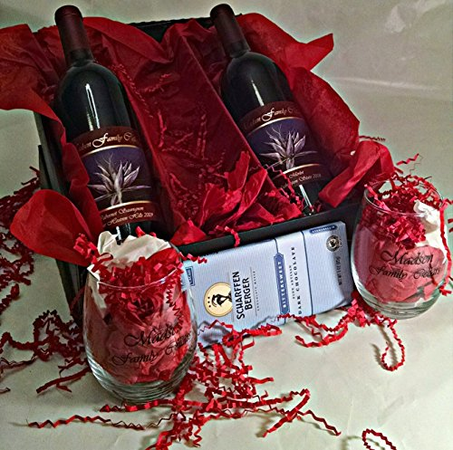 Madsen Family Cellars Bordeaux Style Gift Set with Scharffen Berger Chocolate & 2 Wine Glasses, 2 x 750 mL