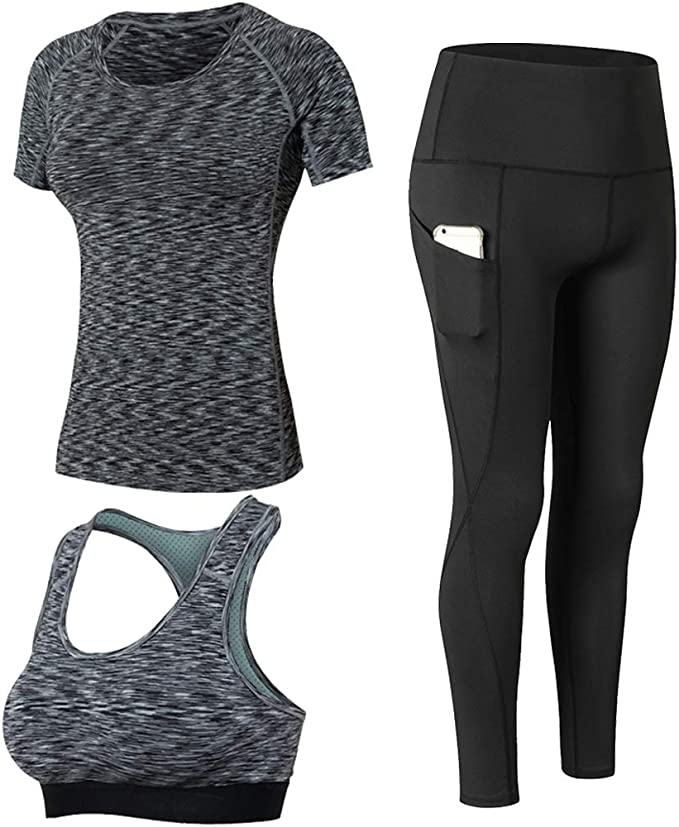 Yoga Shirts and Running Sport Bra and Leggings 3 Pack Set for Women