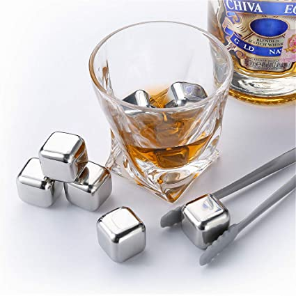 zanmini cubitos de hielo reutilizables de acero inoxidable(8 Pcs), Piedras de Whisky, Cubos de hielo con Pinza, para Enfriar Whisky, Tequila, Vino, ...