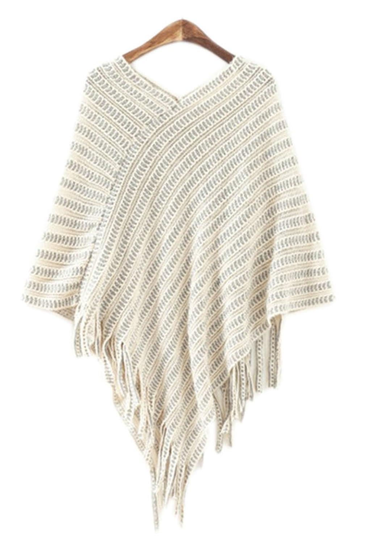Womens Elegant Tassel Poncho Cape Shawls Batwing Knit Sweater Cloak