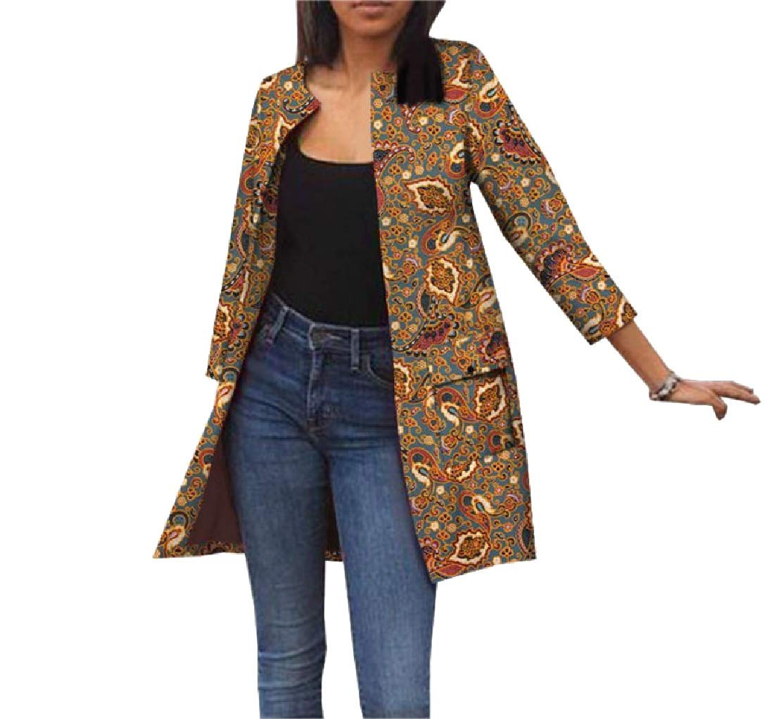 Aooword Women's Africa Cardigan Pockets Dashiki Jacket Simple Trench Coat 7 3XL