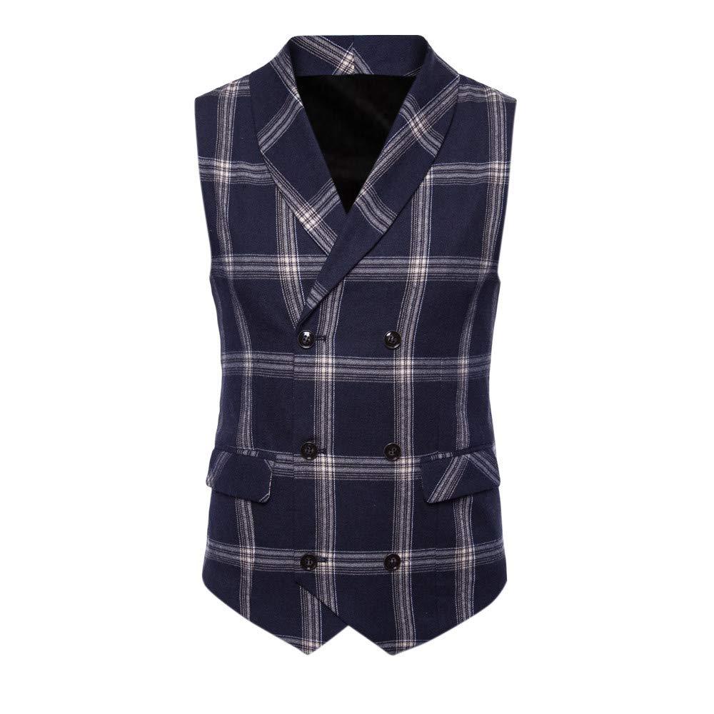 SMALLE ◕‿◕ Clearance,Men Button Casual Print Sleeveless Jacket Coat British Suit Vest Blouse