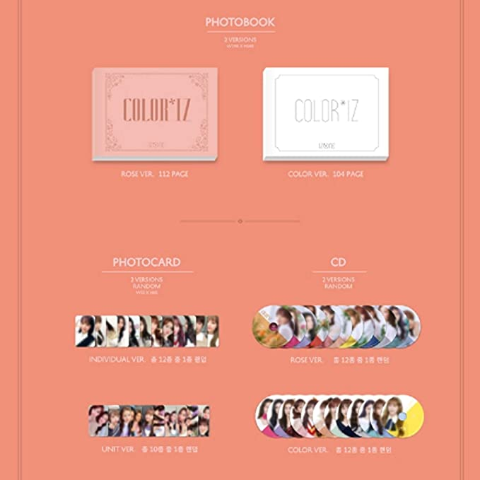 IZONE 1st Mini Album - COLOR*IZ [ ROZE ver  ] CD + Photobook + Folding  Photo Cover + Photocards + Folding Mini Photobook + FREE GIFT / K-pop Sealed