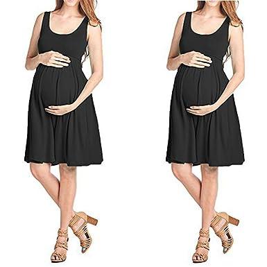 9fc4783dfd284 Moonker Maternity Dresses,Women's Summer Short Casual Maternity Knee Length  Solid Color Maternity Tank Dress