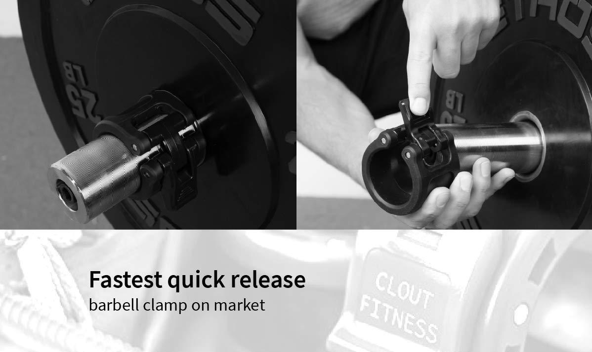 Clout Fitness Quick Release Pair of Locking 2 Olympic Size Barbell Clamp Collar Great for Pro Training