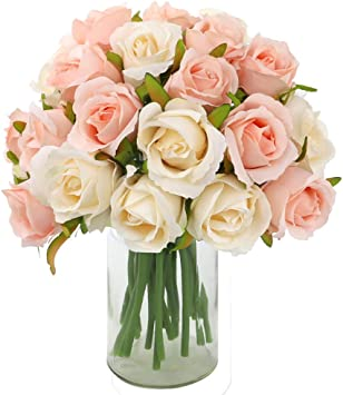 1 Pack Artificial Rose Flowers 12 Heads Silk Flowers Rose Bouquet For Home Bridal Wedding Party Festival Decor Champagne Colored Amazon Ca Home Kitchen