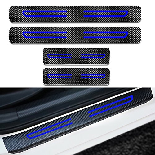 (Car Door Sill Scuff Plate Guard Sills Protector Trim Carbon Fiber Stickers+Blue High Intensity Reflective Tape for Nissan 350Z 4pcs)