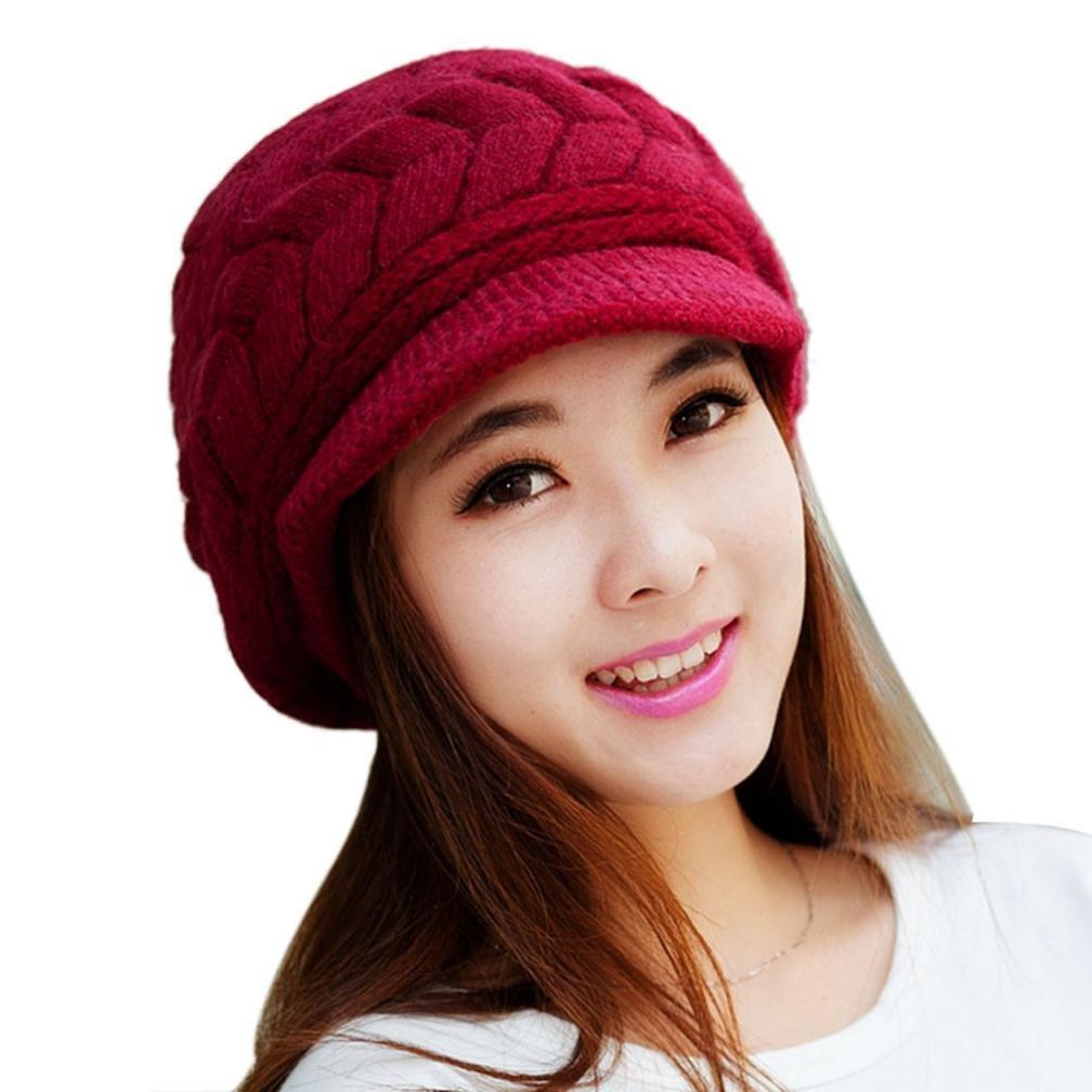ABC® Women Fashion Hat Winter Skullies Beanies Knitting Hats Rabbit Fur Cap ABC®-21