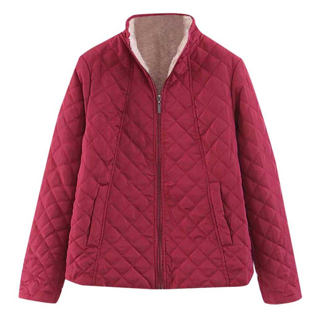 Spring Color  Women's Winter Diamond Long Sleeve Baseball Jacket Bomber Cotton Quilted Biker Zip Up Short Coat Red by 🍒 Spring Color 🍒