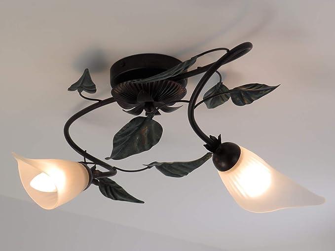 Lampade Rustiche In Rame : Edera 195 p2 plafoniera rustica da soffitto foglie verde rame