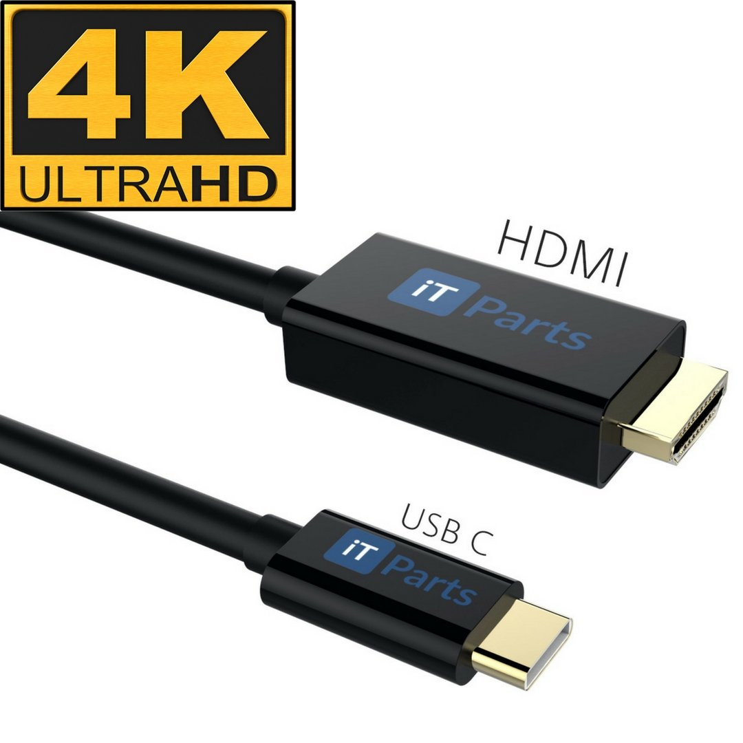 iTParts USB C to HDMI Cable (6ft/1.82m) - USB 3.1 Type C Male (Thunderbolt 3 Compatible) to HDMI Male 4K Cable for MacBook Pro, ChromeBook Pixel, Dell XPS, ASUS, Samsumg Galaxy S8, Notebook & More