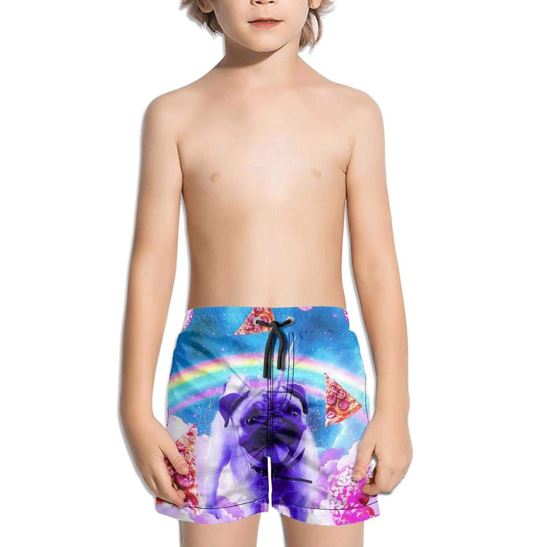 LKIMNJ Boys Boardshorts Pet Pug Cute Pizza Quick Dry Bathing Suits Beach Board Shorts