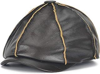 HYF Cappello di Cuoio degli Uomini all'aperto di Modo Casuale Caldo Top Strato di Pelle Bovina Anguria Berretto da Baseball a Cappuccio Ottagonale per l'autunno e l'inverno