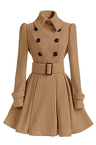 Minetom Mujer Inverno Chaqueta Larga Con Cinturón Cazadora Elegantes Abrigos Con Botones