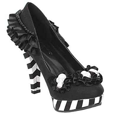 Amazon womens black and white shoes platform pumps ruffle womens black and white shoes platform pumps ruffle flowers skulls 4 inch heels size 5 mightylinksfo