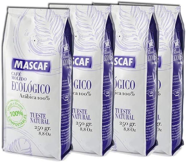 Café Molido Ecológico Mascaf con Envase Compostable - 4 x 250gr ...