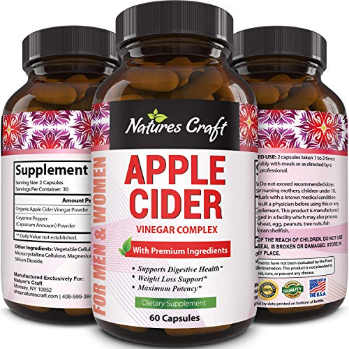 Apple Cider Vinegar Pills - For Weight Loss 1000 MG ACV Extra Strength Fat Burner Natural Supplement Pure Detox Cleanse Digestion Support - Appetite Suppressant Immune Booster - for Women and Men (The Best Fiber Supplement For Weight Loss)