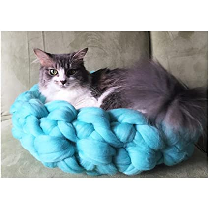 a282c881d4cc Cat Bed Chunky Knit Pet Bed Pet Bedding Handmade Super Wool Yarn Cat Bed  (Cyan