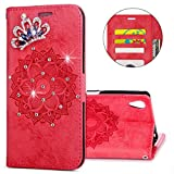 IKASEFU Sony Xperia XA Case,3D Clear Crown Rhinestone Diamond Bling Glitter Wallet with Card Holder Emboss Mandala Floral Pu Leather Magnetic Flip Case Protective Cover for Sony Xperia XA,Red