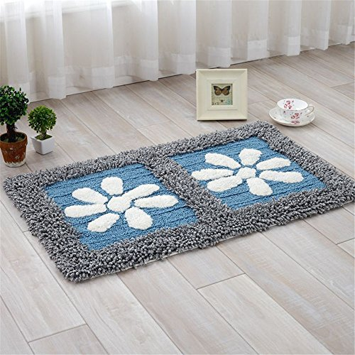 JSJ_CHENG Rectangular Cotton Floral Bathroom Rugs Area Carpets (17.7inch by 27.5inch, Blue) - Bathroom Rectangular Rugs Carpets