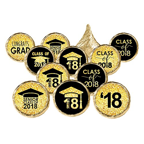 Class of 2018 Graduation Party Favor Stickers, Set of 324 (Black and Gold) -