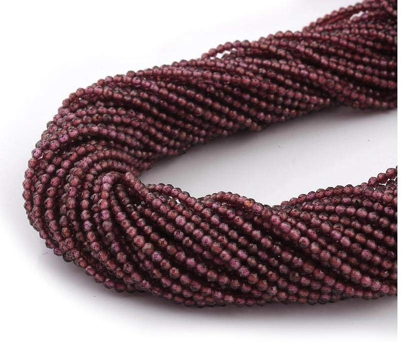 Mughal Gems & Jewellery - 1 Cuerda de rodolita Natural de Granate de 2 mm, Perlas de Piedras Preciosas microfacetadas de 12
