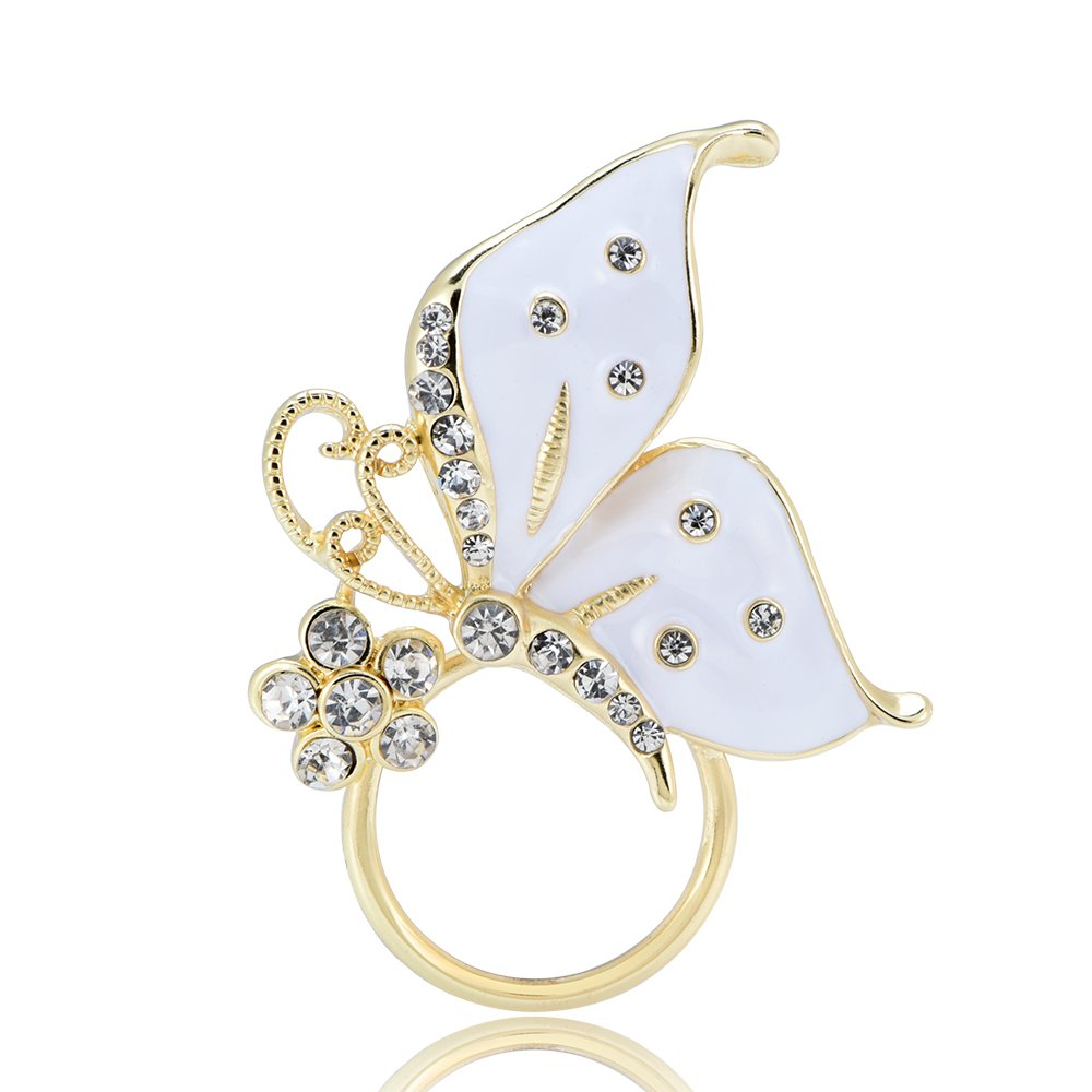 GUANDU Enamel Butterfly Crystal Magnetic Eyeglass Holder for Women Teen Girls (Gold)