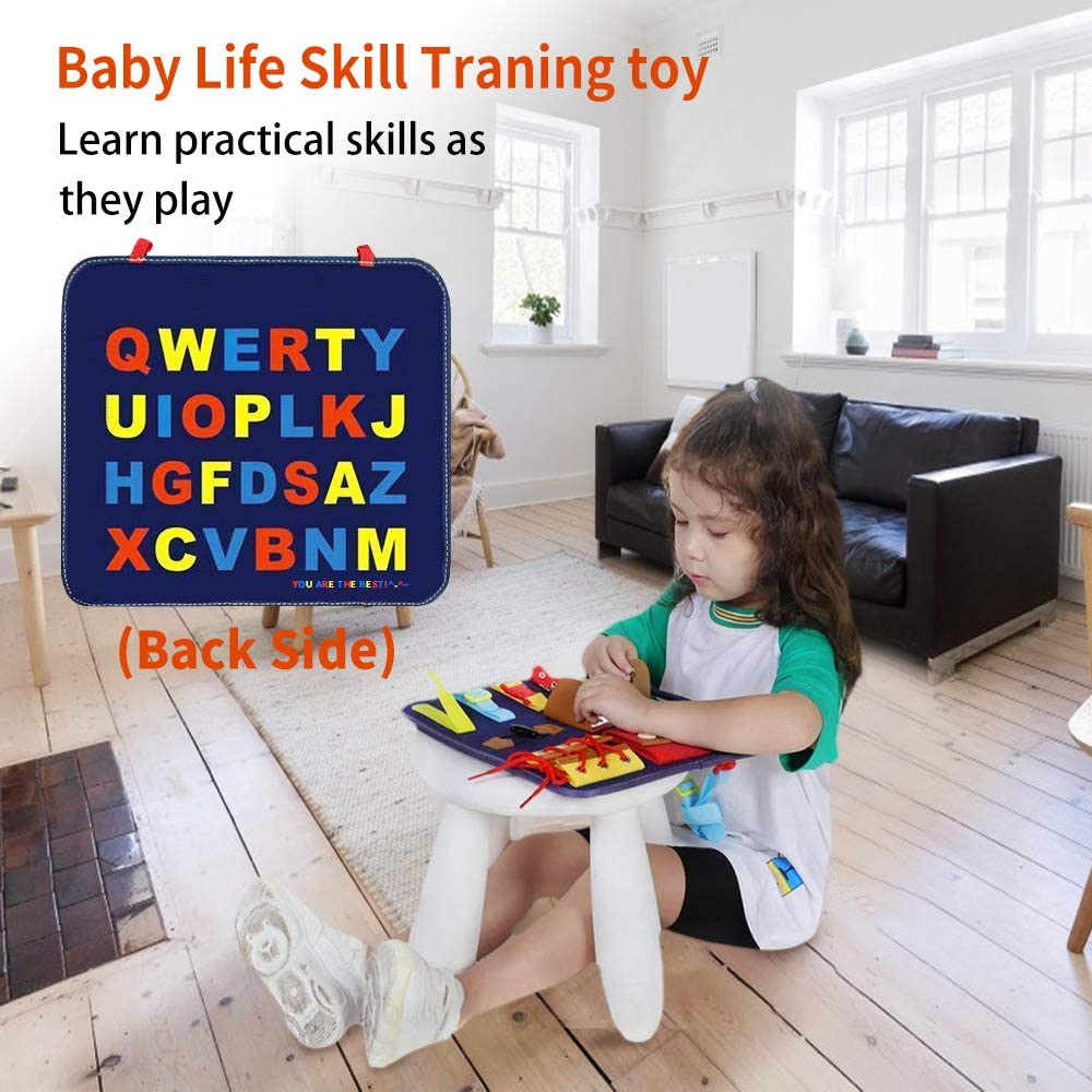 Buckles HUADADA Busy Board for Toddlers Montessori Basic Motor Skills Activity Board Learning Dress ABC Early Educational and Sensory Toys for 1 2 3 4 Year Old Toddlers with Zippers Braids Buttons